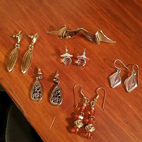 Vintage Jewelry - Vintage 6 pair earrings, costume, GUC